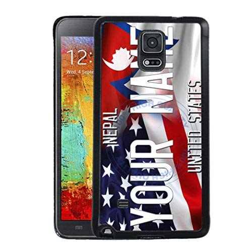 BRGiftShop Personalize Your Own Mixed USA and Nepal Flag Rubber Phone Case For Samsung Galaxy Note IV 4