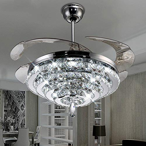 Lighting Groups Invisible Ceiling Fan Light 4 Circles Crystal Ceiling Fans Lamp 42 inch Retractable Blades and Remote Control Ceiling Fan Chandelier With LED Three Color Lights -for Indoor ()