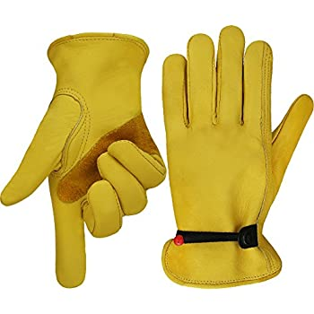 Work Leather Gardening Glove with Ball and Tape Wrist Closure, Garden Gloves,Flex & Good Grip for Logging/Wood Cutting/Forest Work/Driving - Perfect Fit for Men & Women (Medium)