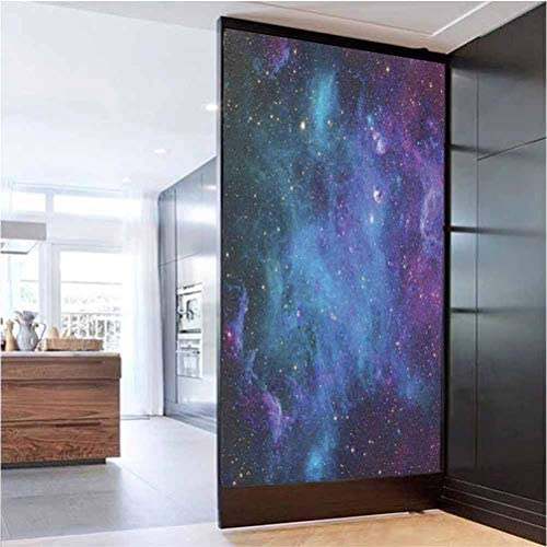 W 35.4 x L 78.7 Window Film Privacy Home Office Glass Door Sticker,Galaxy Stars in Space Celestial Astronomic Planets in The Universe Milky Way Navy Purple
