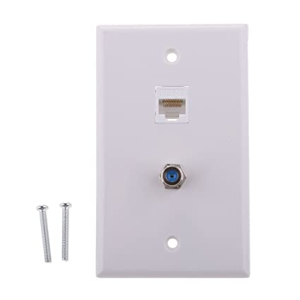 MagiDeal Coaxial F Connector Ethernet Network RJ45 Jack Wall Plate Socket Outlet