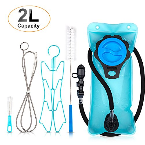 AGPTEK Hydration Bladder Cleaning Kit 4Pcs, Water Bladder, Leakproof Water Storage Tank with TPU Material, 2L Water Reservoir, Large Opening for Bicycling Hiking Camping Backpack
