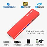 USB-C Docking Stations,Wavlink Thunderbolt 3 Pass-Through Charging PD Hub Adapter,Type C Aluminum Hub for Macbook Pro 2016/2017 with 4K HDMI, SD/Micro SD Card Reader,USB3.0 (Red)