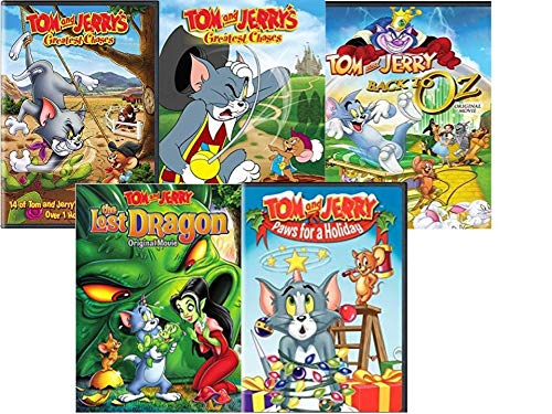 Tom and Jerry Collection Volume 1 - Greatest Chases Volumes 3 & 5 / Tricks & Treats/ The Lost dragon: Original Movie/ Paws for a Holiday (Tom And Jerry Paws For A Holiday)