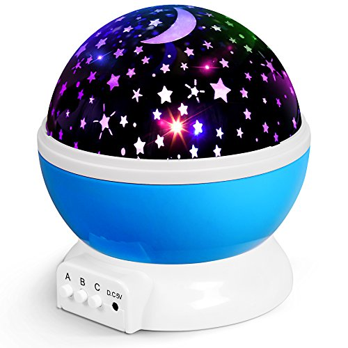 Star Projector Night Light for Kids, Rotating Moon Star Projector with 9 Colored Lights, Ceiling Projector Lamps for Babies Children Bedroom & Nursery by Uptizer by Uptizer