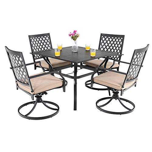 (PHI VILLA Patio Club Bistro Swivel Dining Rocker Chair with Cushions and Larger Square Table Furniture Set of)