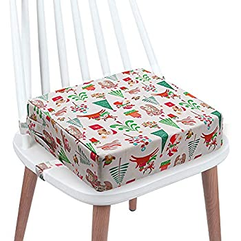Toddler Booster Seat Eating, Washable 2 Straps Security Buckle Youngsters Booster Seat for Eating Desk, Transportable Journey Rising Cushion (Christmas-White)