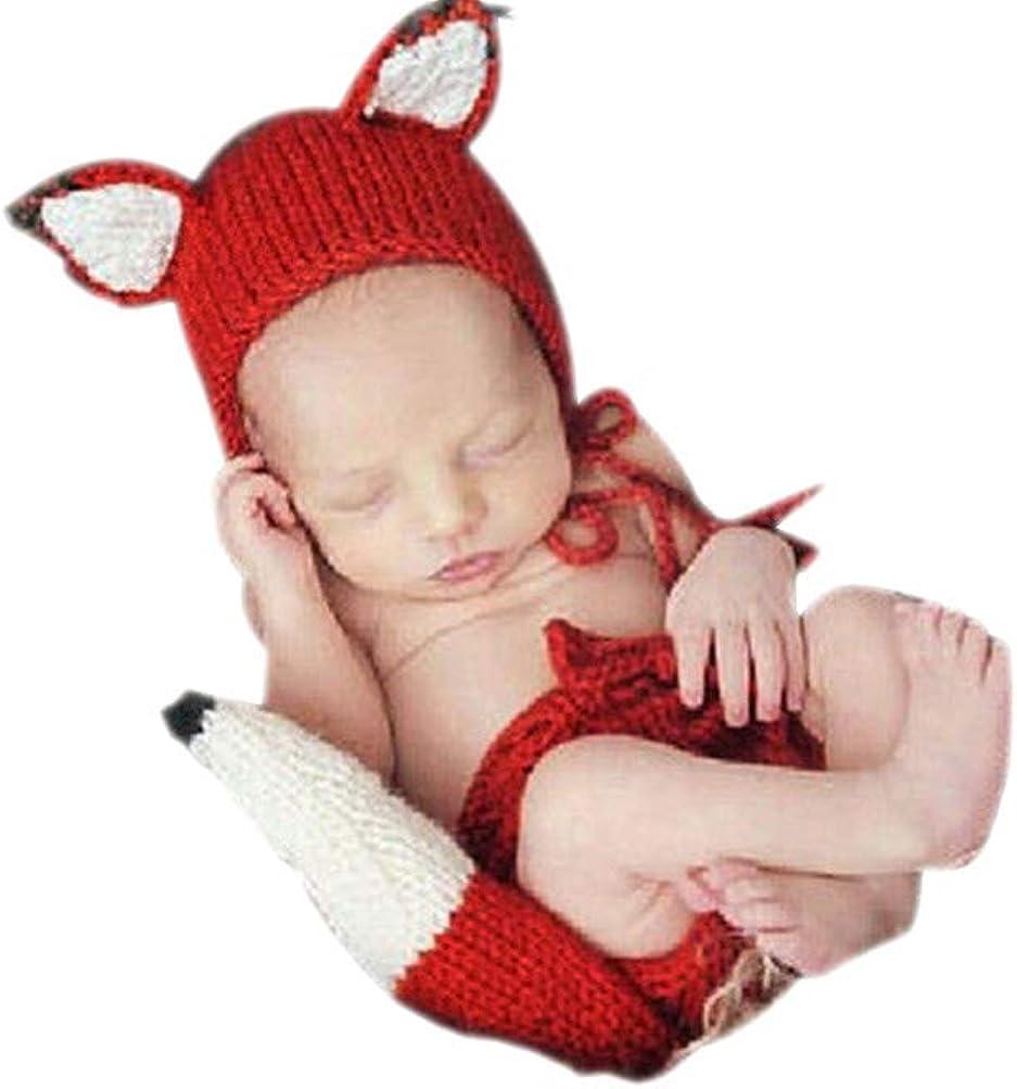 Hat Set Newborn Baby Girl Boy Photography Prop Photo Crochet Knit Costume fox