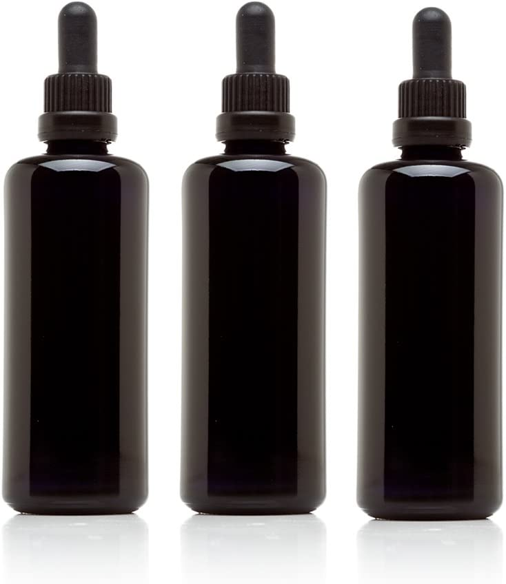 Infinity Jars 100 Ml (3.4 fl oz) Black Ultraviolet Glass Bottle w/Glass Eye Dropper 3-Pack