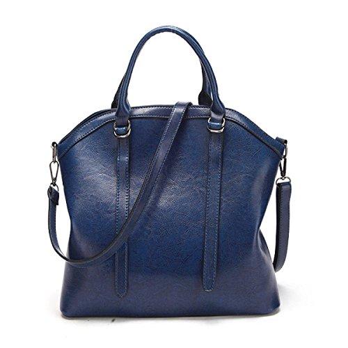 Sra. Cuero De Cera Bolso De Mano Europa Y Estados Unidos Tote Bolso Messenger De Moda Bolsos De Mujer Blue