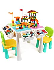 Kids Table and Chair Set with Marble Run Blocks, Toddler Toys All-in-One Multi Activity Table Playset, Kids Gift for Boys & Girls Learning & Playing, Water & Sand Game