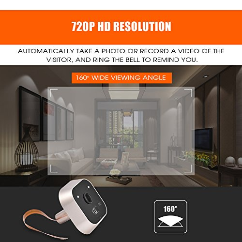 Sonew 720P HD Resolution Camera Visual Video Digital Doorbell HOM Peephole Viewer IR Night Vision with 160 Degrees Wide Angle for House/Office/Apartment/Hotel by Sonew (Image #3)