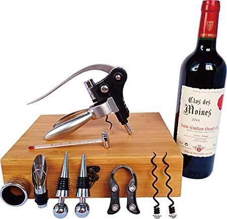 Les Plaisirs du Chef - Caja de madera de bambú (regalo accesorios de vino, con sacacorchos de palanca y aireador) - 9 piezas