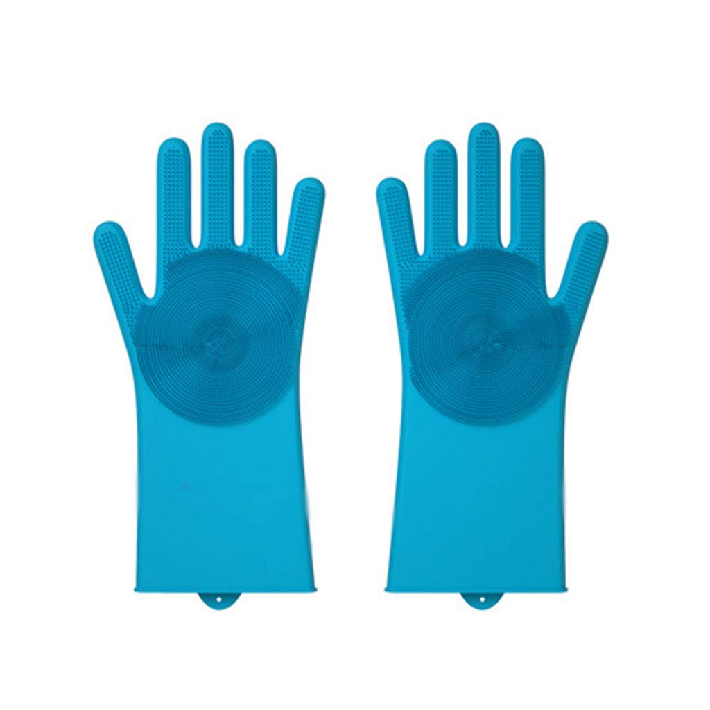 Ffl2019 Pet Gloves pet Bath Gloves Combs Bath Brushes Sticky Hair pet Silicone Brushes Special Five-Finger Gloves pet Grooming Gloves Blue Thick Long Gloves (Color : Blue, Size : 3211CM)