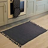 Chindi Rag Rug, Seavish Hand Woven Recycled Cotton Area Rug Braid Entryway Floor Mat for Laundry Room Kitchen Bathroom Bedroom Dorm Solid Grey, 2'W x 3'L