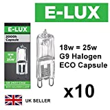 Pack of 10 x G9 18w=25w Branded 240V Dimmable 210 Lumen C Rated Safety Fused Eco Halogen Clear Bulbs Lamps Capsules (18W = 25W)