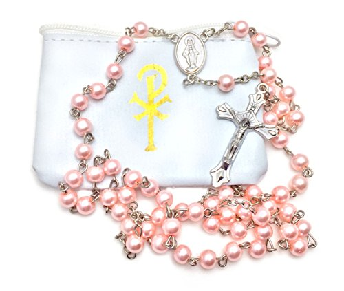 Elysian Gift Shop Catholic 6mm Beads Woman or Girl Pink Pearl Rosary with White Vinyl Rosary Case with Gold Accent