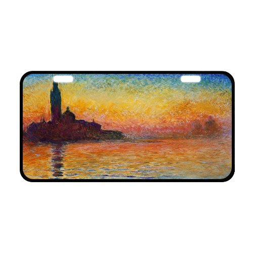(Classic Fine Art Dusk in Venice by Claude Monet Strong And Durable Aluminum Car License Plate 11.8