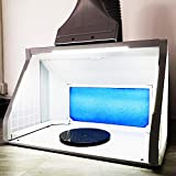 TOGUSH Professional Airbrush Spray Booth with 3 LED Light Turn Table Large Capacity Portable Paint Spray Booth for Cake Hobby Model Airplane Crafts Painting