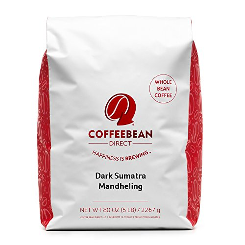 Coffee Bean Direct Dark Sumatra Mandheling, Whole Bean Coffee, 5-Pound Bag