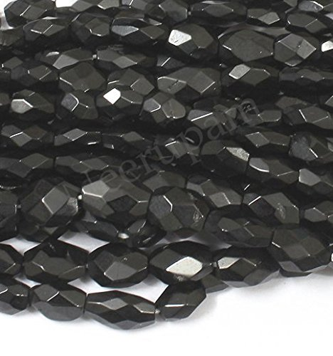 Oval Faceted Garnet Ring - Neerupam collection Natural Afghanistan Black Spinel Gemstone Faceted Oval Beads (Mani) 2 Line Loose 13 inch Strand