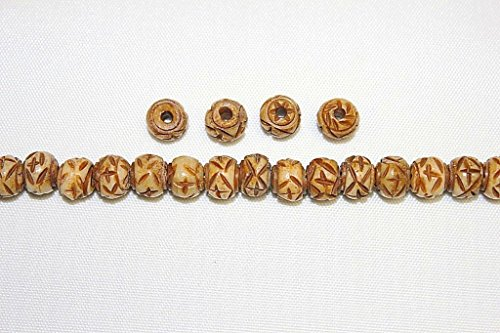 (Hand Crafted & Carved Bone Beads - 8mm, 10mm, 12mm - Round & 1/2