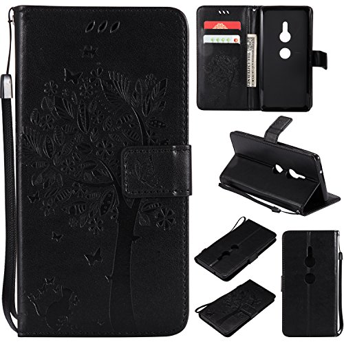 Xperia Sony XZ2 Pattern Herbests Card Leather Function Case Flip Colorful Case 3D Sony Embossing Stand Case Case Leather Xperia Shockproof XZ2 Kickstand PU Sony Tree Xperia Holde Black XZ2 with Wallet Cat wdYRId