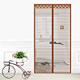 GZQ Magnetic Fly Screen Door Hands-Free Bug-Proof Curtain Micro Mesh Curtain With Lace,Brown,90*210Cm
