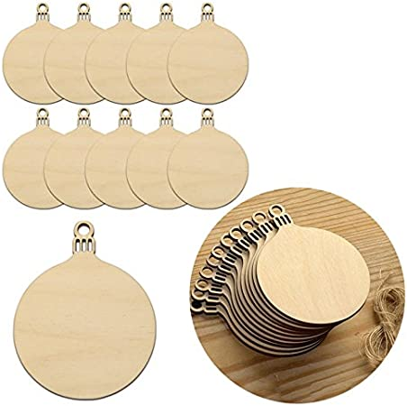 10pcs Wooden round baubles Christmas Decoration Tags Craft Art Embellishme.dr