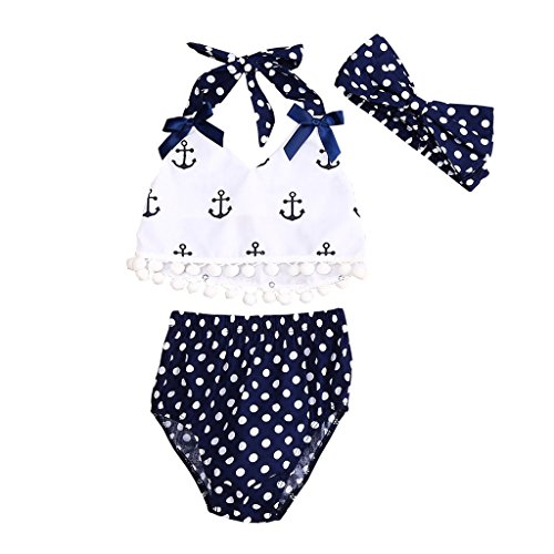 MIOIM Lovely Baby Girls Anchor Halter Tassels Tops Polka Dot Briefs 3PCS Sunsuit Set (Robin Outfit For Babies)