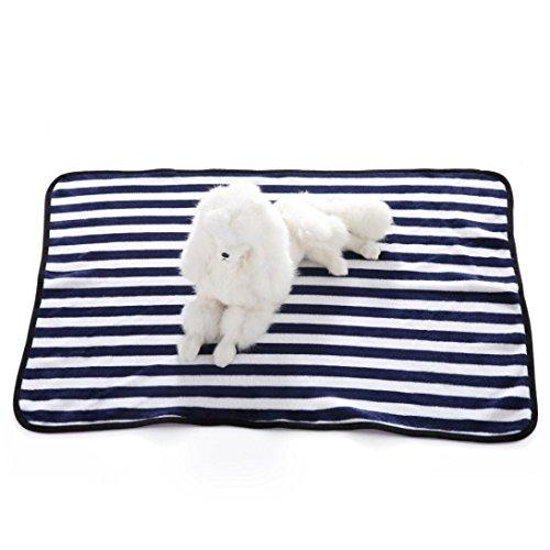 Cowboy Sleep Mat (Mikey Store Pet Dog Blanket, Stripes Soft Warm Carpet Comfortable Mat (Navy))