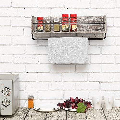 Rustic Torched Wood and Metal Wall Mounted Kitchen Spice Rack Shelf with Towel Bar