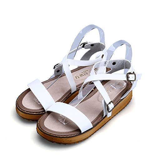 H&W Girls Micro Leather Flat Sandals Buckle Ankle Strap Gum Rubber Soles White YI64TyLq