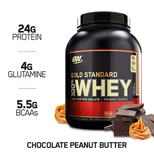 Optimum Nutrition Gold Standard 100% Whey Protein Powder, Chocolate Peanut Butter, 5 Pound (Optimum Nutrition 100 Whey Protein Gold 5 Lbs)