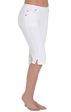 PajamaJeans - Lightweight Knee-Length White Stretch Denim Shorts ...