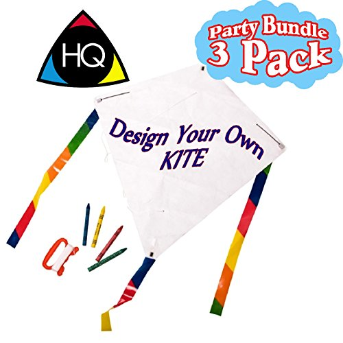 HQ Kites Creative Line: Eddy Kid's Creation Design Your Own (DYO) Kite with Crayons Party Set Bundle - 3 Pack