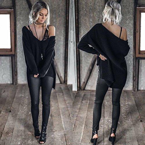 Chandail Tunique Tricots Manches Automne Sweater Noir Blouse Printemps Shirts Sweat Jumper Casual Mode Longues Tops Oblique Pulls paule Pullover Femmes Sexy Hauts Aqf5RwC