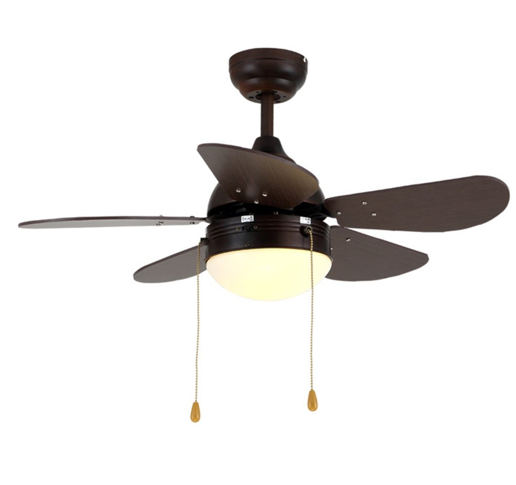 Akronfire Wood Ceiling Fan for Children Bedroom and Dining Room Pull Chain Control The Miniature Retro Fan Light(30-Inch)