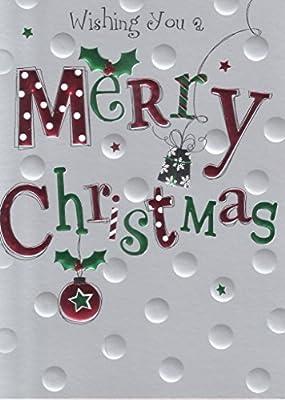 Amazon.com: wising te un feliz Tarjeta de Navidad en relieve ...