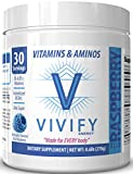 Vivify All-Day Energy Powder, Top-Rated Pre-Workout Energizer for Women and Men, BCAA's, Vitamins, Amino Acids. Blue Raspberry. 30 Servings.