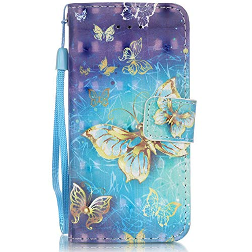 (iPhone SE Case, iPhone 5S Case,iPhone 5 Case,Voanice Luxury Stand Wallet Purse Credit Card Slots Holder Magnetic Design Flip Folio PU Leather Slim Cover Apple iPhone SE/5S/5 &Stylus-Blue Butterfly)