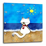3dRose dpp_182624_1 Cute Siamese Kitty Cat Summer Beach Time Fun-Wall Clock, 10 by 10-Inch
