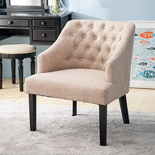 Merax WF034955AAA Contemporary Accent Button Tufted Wingback Curved Backrest Arm Chair for for Living Room, Beige