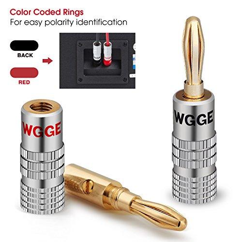 24k Gold Dual Screw Lock Jack Speaker Banana Connectors for Speaker Wire Wall Plate 12 Pairs 24 Plugs WGGE WG-009 Banana Plugs Audio Jack Connectors