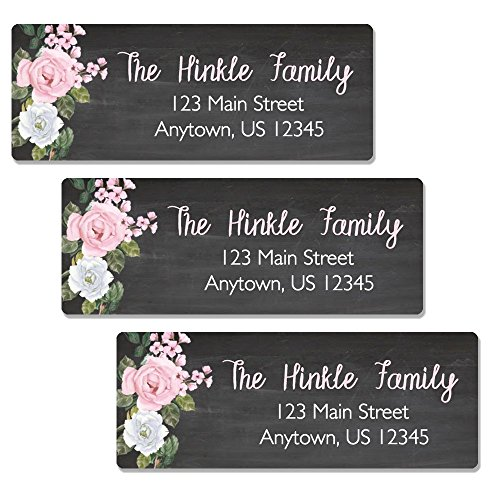 - Oh Baby! Stickers & More 60 Customized Chalk & Flower Return Address Labels - Personalized Address Labels (AL90)
