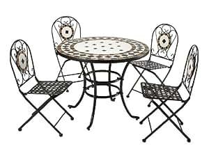 Roma 4asiento de acero y mosaico mesa y silla Set Parte Superior calidad