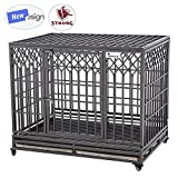 Cheap SMONTER 46″ Heavy Duty Dog Crate Strong Metal Pet Kennel Playpen with Two Prevent Escape Lock, Large Dogs Cage with Wheels, Y Shape, Dark Silver