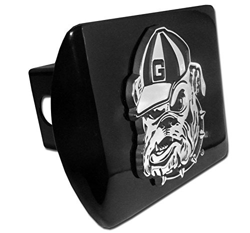 Georgia Bulldogs with Bulldog Black Metal NCAA Trailer Hitch Cover Fits 2 Inch Auto Car Truck Receiver (Pewter Trailer Hitch Cover)