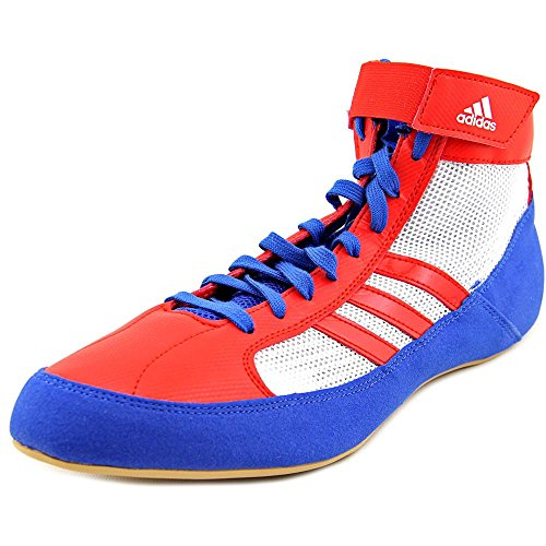 adidas Men's HVC Blue/Vivid Red FTW White High-Top Wrestling Shoe - 9.5M by adidas