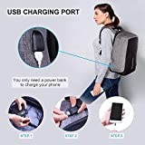 Laptop Backpack business anti-theft waterproof travel computer backpack with USB charging port college school computer bag for women & men fits 15.6 Inch Laptop and Notebook - Grey